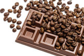 Chocolate bar with coffee beans close-up — Stock Photo