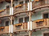Resort balconies in Canazei — Stock Photo