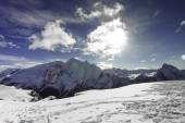 Beautiful winter mountain landscape in Trentino and clouds — Stock Photo