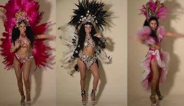 Three beautiful samba dancers wearing typical costumes — Stock Video