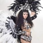 Samba dancer wearing traditional black costume and posing — Stock Photo #62124061