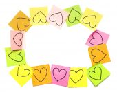 Post-it colorful frame with drawn hearts — Foto de Stock