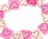 Post-it pink frame with drawn hearts closeup — Foto de Stock