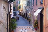 Colorful street in Albissola Marina, Liguria in Christmas time — Stock Photo