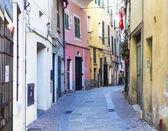 Colorful street in Albissola Marina, Liguria — Stock Photo