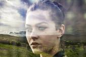 Double exposure of beautiful girl and colorful hill landscape — 图库照片