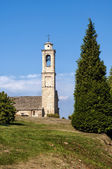 Bell tower in Langhe village in Piedmont, Italy — Stock Photo