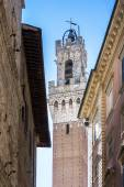 Mangia Tower seen from the streets of Siena in Tuscany — Stock Photo