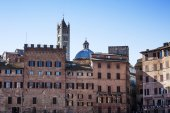 View of Siena with glimpse of Siena cathedral tower — Stock Photo