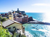 Blue seascape and Cinque Terre glimpse in Liguria, Italy — Stock Photo