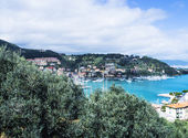 Spring seascape and village in Liguria, Italy — Stock Photo