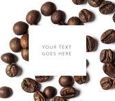 Kávová zrna karta — Stock fotografie