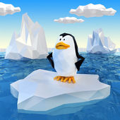 Lowpoly penguin on ice — Stock Photo