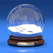 Snowglobe with footprints — Stock Photo