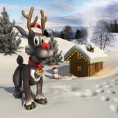 Rudolph reindeer in a Christmas landscape — Stock Photo