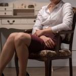 Serious woman wearing white blouse — Stock Photo #54051159