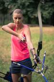 Woman with the bow — Stock Photo
