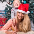 Mom and daughter waiting for Christmas — Stock Photo #56660171