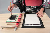 Traditional Japanese or Chinese calligraphy — Foto Stock