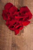 Heart shape decoration of rose petals — Stock Photo