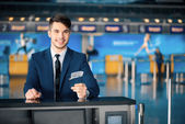Handsome man in the airport — Foto Stock