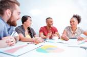 Young creative people at brainstorming — Stock Photo