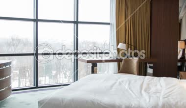 Hotel bedroom with beautiful view — Stock Video