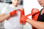 Boxers bind their bandages — Stock Photo