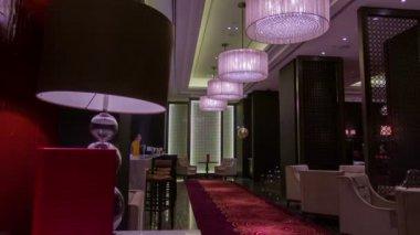 Travel through interior of the restaurant — Stock Video