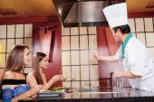 Female clients in Japanese restaurant — Stock Photo