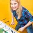Happy friends playing table hockey — Stock Photo #73393141