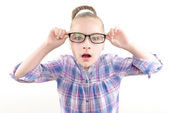 Small girl wearing glasses — Stock Photo