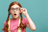Little young girl expressing surprise. — Stock Photo