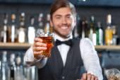 Handsome bartender during work — Zdjęcie stockowe