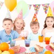 Happy little kids at birthday party — Stock Photo #80147858
