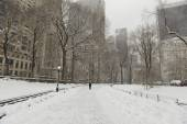 Central Park in the snow, Manhattan, New York City — Stock Photo