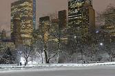 Manhattan skyline after snowstorm, New York City — Stock Photo