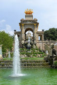 Water Fountain with architecture designed by Antoni Gaudi in Park Guell, Barcelona, Spain — Stock Photo