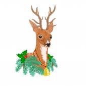 Christmas reindeer vector — Stock Vector