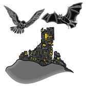 Halloween castle with owl and bat vector — Stock Vector