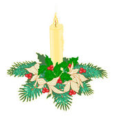 Christmas candle with boughs of holly and poinsettia  vector — Stock Vector