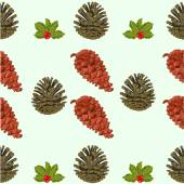 Seamless texture of pine cones and berries christmas theme vector — Stock Vector