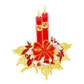 Christmas two candles with ribbon and poinsettia vector — Vector de stock