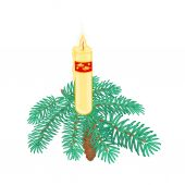 Christmas candle on spruce branch with pinecone vector — Stock Vector