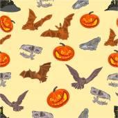 Halloween Seamless texture  bat pumpkin and  castle vector — Stock vektor
