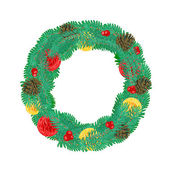 Christmas Wreath with pine cones vector — Stock Vector