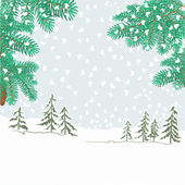 Spruce branches with snowflakes vector — Stockvektor