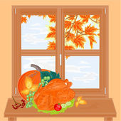 Autumn window and celebratory food vector — Stock Vector