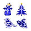Christmas decoration blue faiánse snowman tree bird holly vector — Vettoriale Stock  #57817015