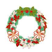 Christmas decoration wreath with poinsettia vector — Stock Vector